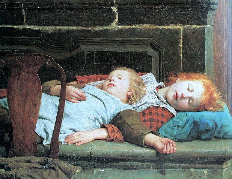 774px-Anker_Zwei_schlafende_Mädchen_auf_der_Ofenbank
